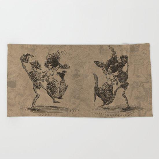 Dancing Mermaid and Skeleton Beach Towel