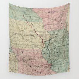 Vintage Midwestern United States Railroad Map Wall Tapestry