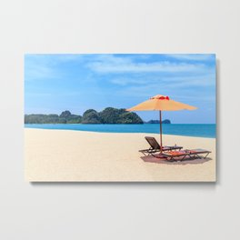 Sunloungers and a parasol on an empty Langkawi beach, Malaysia Metal Print