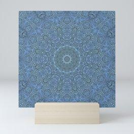 Blue mandala, blue, kaleidoscope Mini Art Print