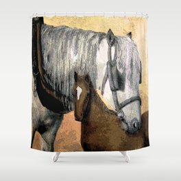 Plow Horse and Foal Shower Curtain