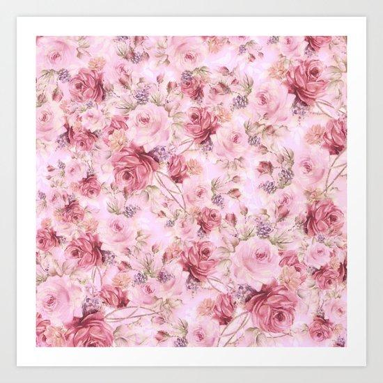 romantic pink roses Art Print