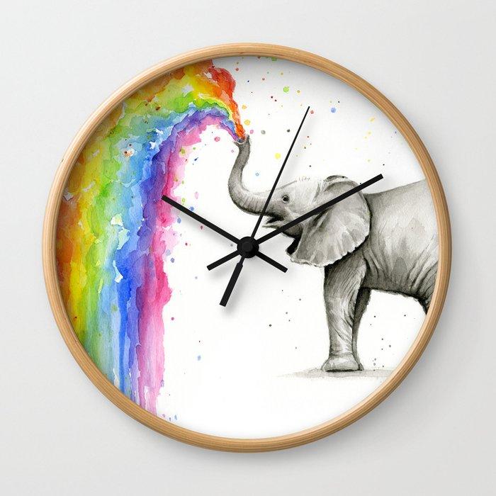 Baby Elephant Spraying Rainbow Wall Clock