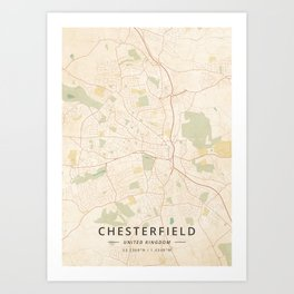 Chesterfield, United Kingdom - Vintage Map Art Print