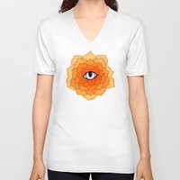 chakra V-neck T-shirts featuring Sacral Chakra by DuckyB