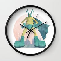 super hero Wall Clocks featuring Super Hero by J.M. Benga