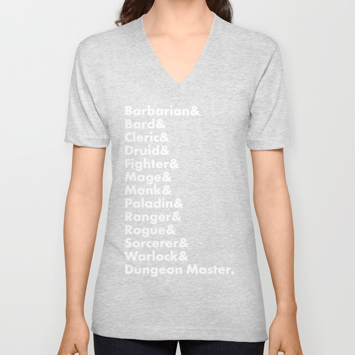 Dungeons and Dragons - Classes Unisex V-Neck by kayesdoodles