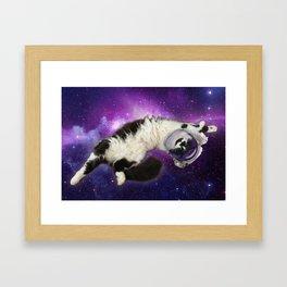 Space Cat in Space Framed Art Print