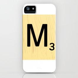Scrabble M Decor, Scrabble Art, Large Scrabble Tile Initials iPhone Case