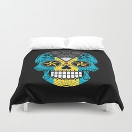 Sugar Skull with Roses and Flag of Bahamas Duvet Cover
