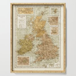 Vintage Map of Great Britain and Ireland, 1947 Serving Tray