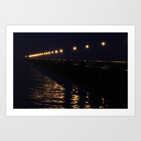 Water Lights on Pier Art Print