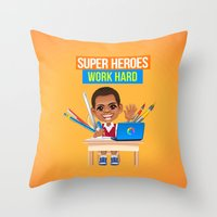 super heroes Throw Pillows featuring Super Heroes Work Hard by youngmindz