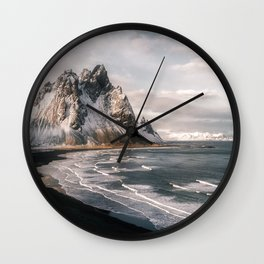 Stokksnes Icelandic Mountain Beach Sunset - Landscape Photography Wall Clock