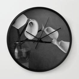 four lily in fish bowl Wall Clock