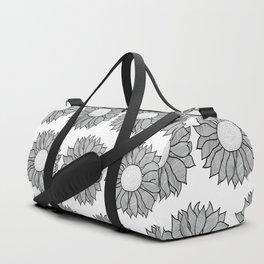 Isolated Inked Flower Duffle Bag