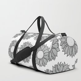 Isolated Inked Flower Duffle Bag