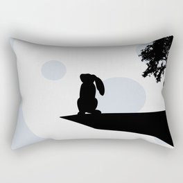 Bunny and Moon Silhouette Rectangular Pillow