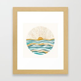 The Sun and The Sea - Gold and Teal Framed Art Print