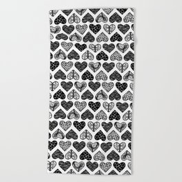 Wild Hearts in Black and White Beach Towel