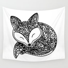 Black and White Mandala Fox Design Illustration Wall Tapestry