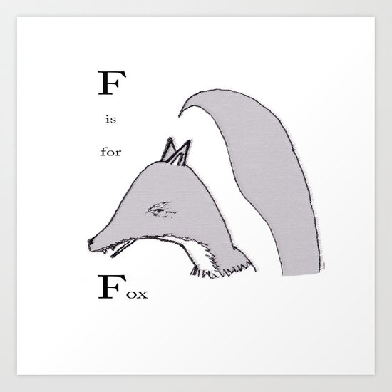 'F' Is For Fox Art Print