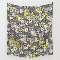 sweater Wall Tapestries featuring sweater mice chartreuse by Sharon Turner