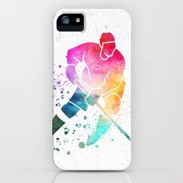 Watercolor Hockey Colorsplash iPhone Case