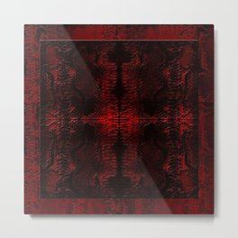 Snake Skin In Red Metal Print