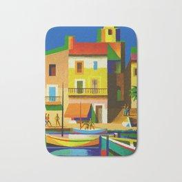 Vintage French Riviera Travel Ad Bath Mat