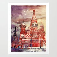 moscow Art Prints featuring Moscow by takmaj