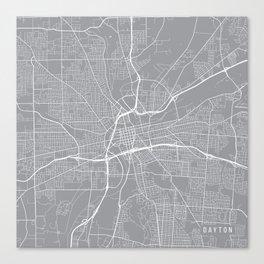 Dayton Map, Ohio USA - Pewter Canvas Print