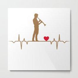 Clarinet Player Heartbeat  Love Gift T-Shirt Metal Print