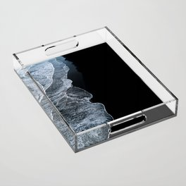 Waves on a black sand beach in iceland - minimalist Landscape Photography Acrylic Tray