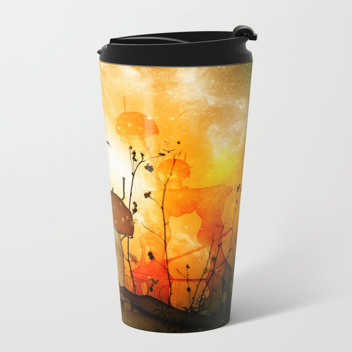 The fairy house in the night Metal Travel Mug