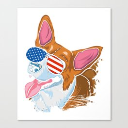 Corgi american flag sunglasses shirt Labor Day tee Canvas Print