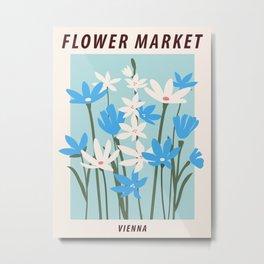 Flower market print, Blue flower art, Vienna, Posters aesthetic, Floral art, Vintage poster Metal Print