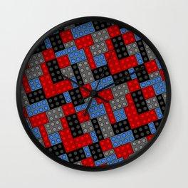 Building Blocks, Red Black & Blue Bricks Wall Clock