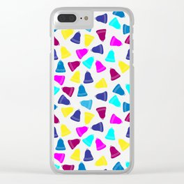 Colorful neon pink teal blue Christmas bells Clear iPhone Case