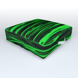 Lime Green and Black Stripes Outdoor Floor Cushion