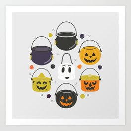 Halloween Candy Buckets Art Print