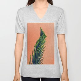 Complementary Colors Green Salmon Pink Against Background Unisex V-Neck