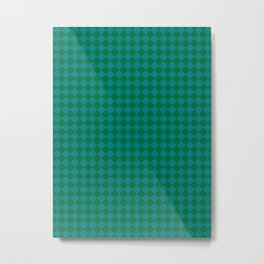 Teal Green and Cadmium Green Diamonds Metal Print