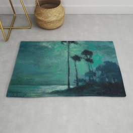 Tropical Nocturnal Landscape with Palms by Charles Warren Eaton Rug