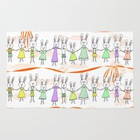 bunnies Area & Throw Rugs featuring Bunnies by Anchobee