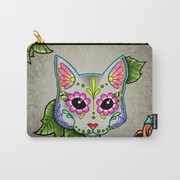 Grey Cat - Day of the Dead Sugar Skull Kitty Carry-All Pouch