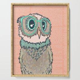 Owl wearing glasses II Serving Tray