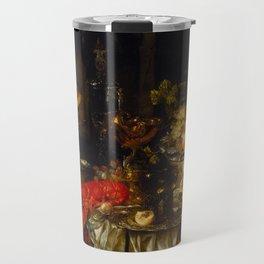 Abraham van Beijeren - Banquet Still Life with Fruit and Fowl (1651) Travel Mug