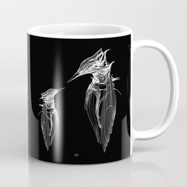 Kingfisher Father & son 1a. White on black background-(Red eyes series) Coffee Mug