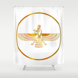 Prophet Zarathustra, Zarathushtra Spitama, or Ashu Zarathushtra- symbols of Zoroastrianism Farvahar Shower Curtain